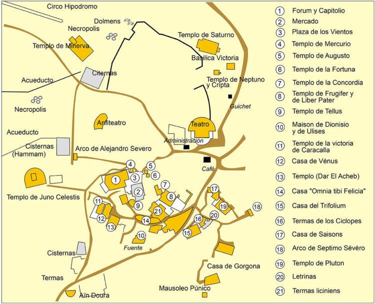 Mapa de Dougga